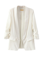 Solid Notched Long Sleeve Women Blazer