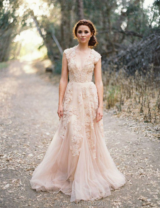 Vintage 2014 Lace Wedding Dresses Champagne Sweetheart Ruffles ...