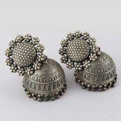 Vintage Design !! Oxidized Plain Silver 925 Sterling Silver Earring, Silver Jewelry India, Ancient Silver Jhumka Earring
