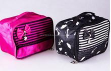 Satin material handle cosmetic bag