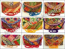 Bordado kutchi Indian trabajo banjara-monedero al por mayor de bolsos-Lana embrague étnica cartera de mano