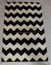 Persian Hand Made Indian Kilim Design Cotton Rug/Muslim Prayer Carpet,Dhurrie/Chevron Pattern Hand Loomed Vintage Yoga Mat