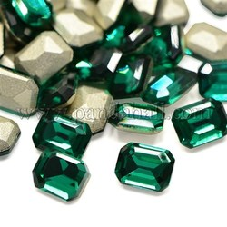 Faceted Rectangle Glass Pointed Back Rhinestone Cabochons, Back Plated, Emerald, 8x6x3.2mm; about 72pcs/bag