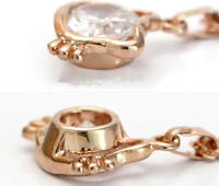 Zinc Alloy Jewelry Necklace, with iron chain, Hello Kitty, rose gold color plated, oval chain & with cubic zirconia, nickel, lea