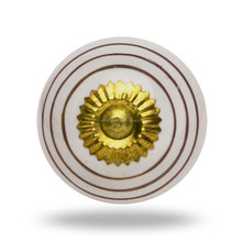 Ceramic Round knob with silver circles &Brass Back plate Knob