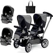 free shipping Peg Perego Duette SW Stroller with two Car Seats and a Diaper Bag