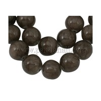 "Natural Yellow Jade Beads Strands, Dyed, Round, Gray, about 14mm in diameter, hole: 1mm; about 29 pcs/strand, 16"" JBR14mm-23"