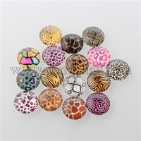 Animal Skin Printed Glass Cabochons, Half Round/Dome, Mixed Color, 12x4mm
