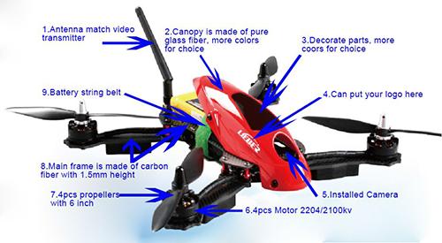 Lieber Drone 280 mm FPV 4 axe Mini Quadcopter W / caméra + VTX + Flight Control ARTF drones