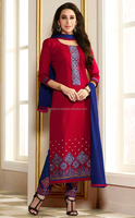DESIGNER RED BLUE STRAIGHT CUT PALAZO STYLE PARTY WEAR EMBROIDERY DRESS MATERIAL