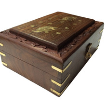 New Wooden Handcrafted Indian Jewellery Box Brass Inlay Unique Elephant Design/Wooden Box/Hot Look Wooden Jewellery Box 2015