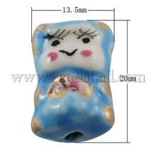 Contas de porcelana boneca LightSkyBlue 20 x 13.5 mm PORC-S673-1