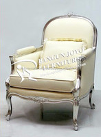 French Style Antique wooden living room arm chairs with hand made silver leaf carving