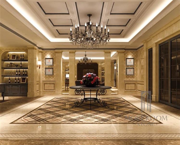 Stone Turning Marble Floor Lobby : Classical burberry pattern marble lobby waterjet floor