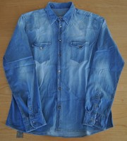 Denim Jeans Casual Shirt for Men Long Sleeves Special Buttons 100% Cotton Italian Fashion Style High Quality MADE IN ITALY