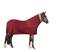 Horse Fleece Coolers LEMIEUX FLEECE HORSE STABLE TRAVEL SHOW SWEAT COOLER NECK COVER HOOD BURGUNDY