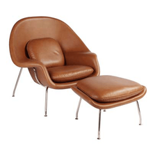 Leather Womb Chair + Ottoman Style