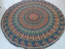 Indio mandala redondo tapiz