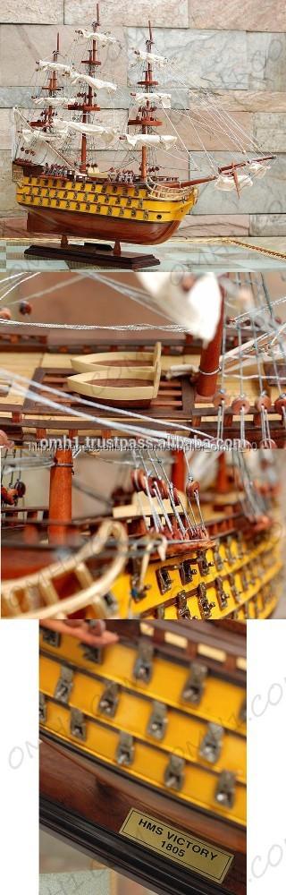 背の高い手作り木製模型船hms勝利を描いた小型- ギフトや家の装飾