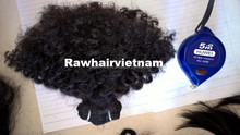 Afro kinky curly Cambodian and Peruvian no silicon 100% virgin remy raw human hair, machine weft hair extension