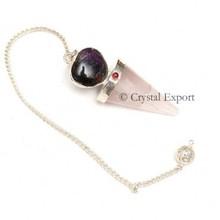 Rose Quartz Heart Bullet Pendulums : Wholesale Gemstone Pendulums, Agate Pendulums
