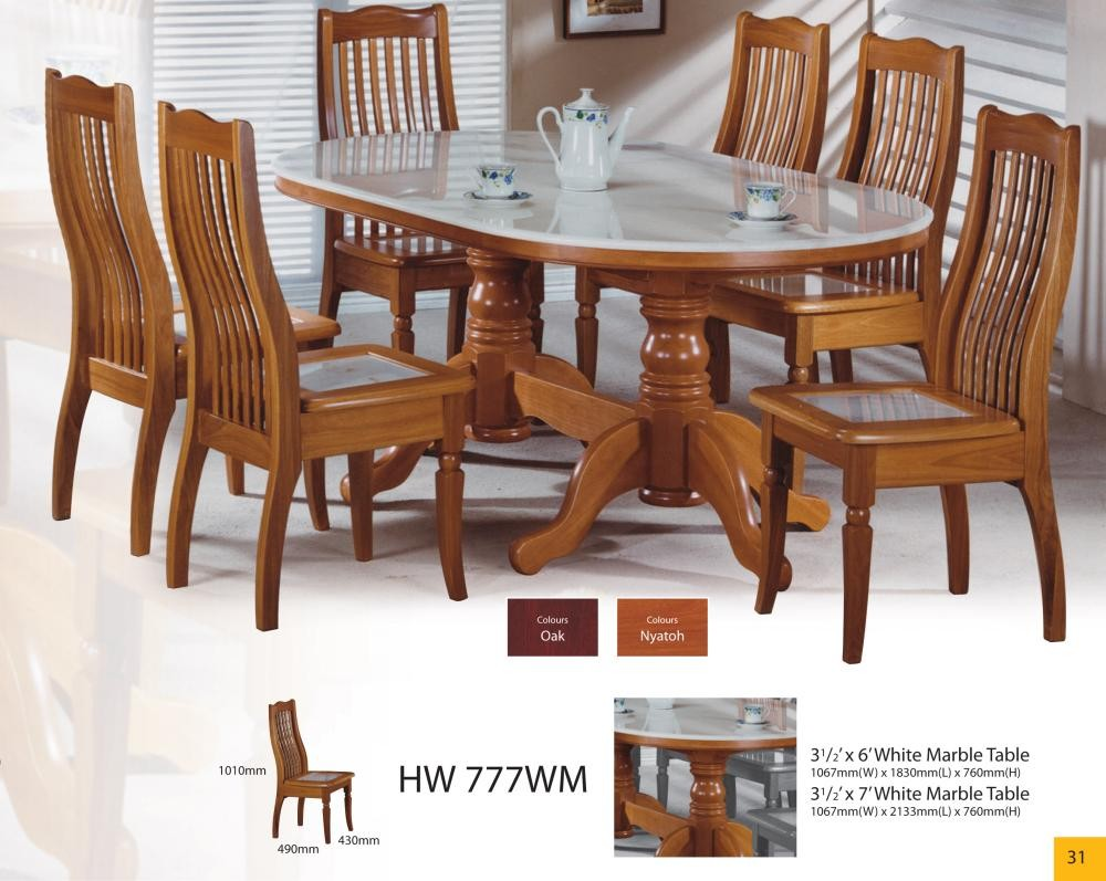 Modern Asian Design Solid Wood Dining Table & Chairs With ...