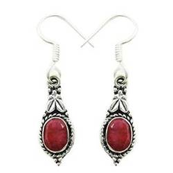 Trendy Ruby Semi Precious Stone 925 Silver Plated Danglers Earring Set Jewellery Gift For HerSE5600