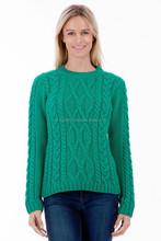 Pure Merino Wool - Ladies Aran Jumper - Made in the UK