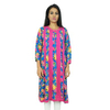 Rayon Floral Printed Kurti Summer Women Long Sleeves Tunic Pink Dress Sz M CKL2226