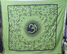 OM, AUM, OHM, indian buddhist mantras script big om small om yoga wall hanging, life energy yoga mat, tapestries, bedspreads
