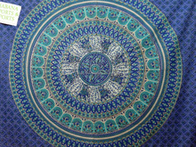 Romantic blue embroidered tapestry mandala throw hanging hand block work vintage gypsy mandala