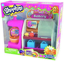 Shopkins So Cool Fridge, Spin Mix Bakery Stand and Easy Squeezy Fruit & Vegetable Stand Playsets Gift Set Bundle