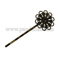 Iron Hair Bobby Pin Findings, Flower, Antique Bronze, Tray: 23mm; 63x22x2mm PHAR-Q026-AB