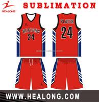 Healong Top Brand hot sale basketball jersey sublimated basketball jersey national teams