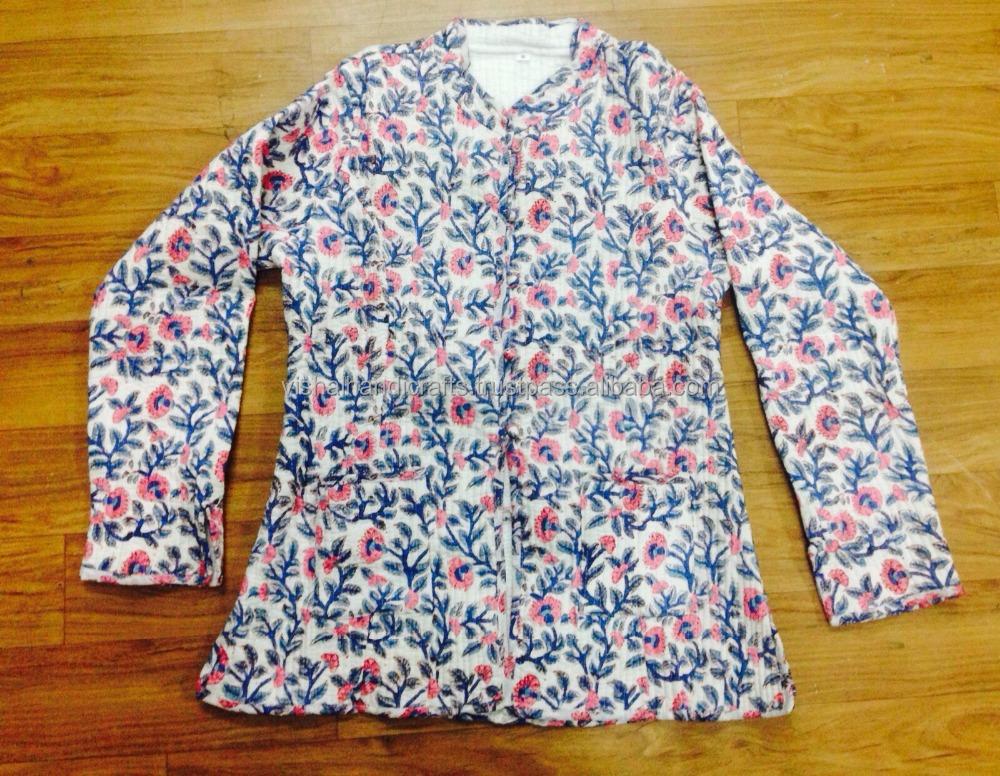 Vintage reversible indian kantha quilted jackets online