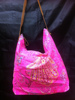 Yellow/Pink Neon canvas shoulder bag with leather strap