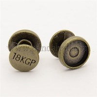 Alloy Cabochon Settings, Barbell, Antique Bronze, Tray: about 9mm in diameter; 10.5x10.5mm PALLOY-N0002-06AB