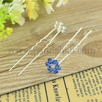 Bridal Party Wedding Decorative Hair Accessories Silver Color Iron Rhinestone Flower Hair Forks For Lady PHAR-S170-11