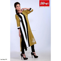 New Zebra Stripes Black & White Mehndi Colour Long Kurta 2015