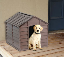 Dog Kennel Pet Shelter Plastic Durable Outdoor- Brown
