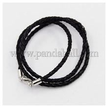 """Плетеный кожаные шнуры, для ожерелье задатки, с латунной застежкой омар застежками, платина, черный, 21 """" ; 3 мм"""