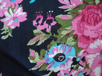 Screen printed cotton voile fabric / floral design pattern fabric / womans wear dress fabric