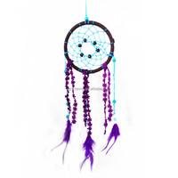 New Arrival Hot Sale Handmade Purple Dream Catcher Circular Net Feather Wall Hanging Car Decor Ornament Craft Beautiful Gift