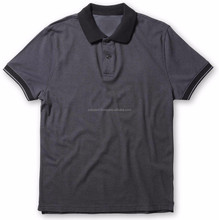 Double Dyed 100% Cotton pique regrular fit contrast short sleeve mens polo t shirt in black