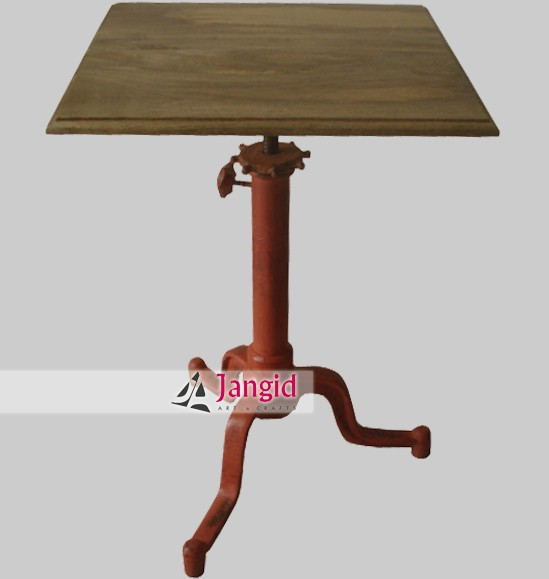 Industrial iron and wooden square dining table furniture for Square industrial dining table