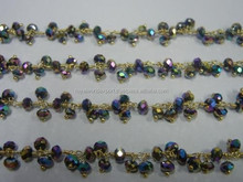 Peacock Pyrite Wire Wrapped Gemstone Dangle Chain/2015 wholesale dangle gemstone beaded chain