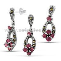 Round Cut Red Corurdum Gemstone Adorn Earring Studs Pendant Jewel Set .925 Sterling Silver Marcasite Fashion Jewelry