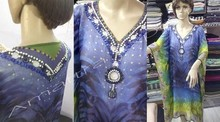 Colores Multi del Georgette de impresión mujeres con cuentas de Kaftan