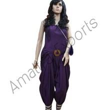 Purple Fashion Jumpsuit with wooden Belt