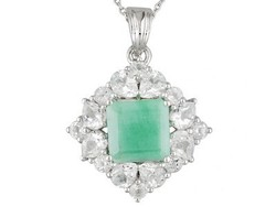 Square Emerald With Pear Shape & Round White Topaz Silver Pendant With Chain, Silver Bell Pendant,m Large Silveer Hope Pendant